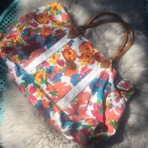 Vintage Gitano duffel bag flowers 80s